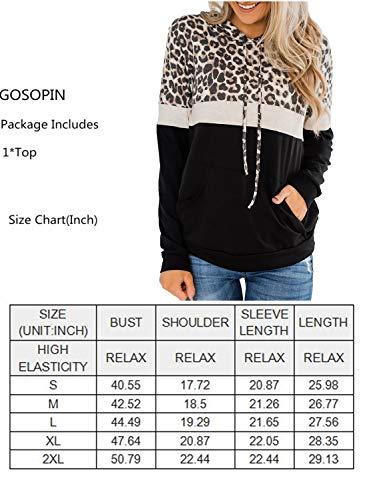 GOSOPIN Autumn Long Sleeve Tops for Womens Casual Sports Patchwork Sweatshirts Soft Stripes Leopard Hoodies Black Medium