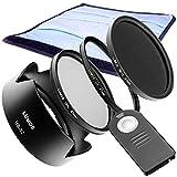 Juego de accesorios para Nikon AF-S 18-105 o 18-140 VR por ejemplo D7200 D5300 D3300 | Disparador remoto ML-L3 Parasol HB-32 & 67 mm filtro UV filtro polarizador gris ND-16 & estuche