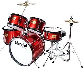 Mendini by Cecilio 16 inch 5-Piece Complete Kids / Junior Drum Set with Adjustable Throne, Cymbal, Pedal & Drumsticks, Metallic Bright Red, MJDS-5-BR