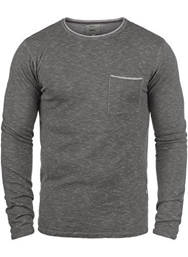 Redefined Rebel Maverick Herren Strickpullover Feinstrick Pullover Mit Rundhals Und Brusttasche Aus 100% Baumwolle, Größe:M, Farbe:Mid Grey