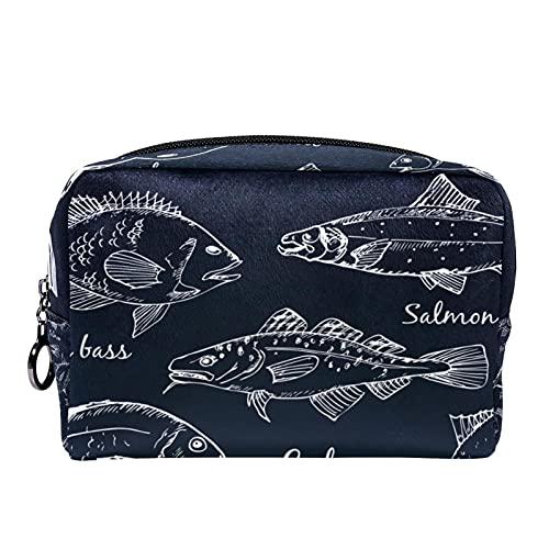 Makeup Tasche Tragbare Reisekosmetiktaschen, Fischsammlung Dorado Aal Wolfsbarsch Lachs Kabeljau Thunfisch Hering Seezunge Stör
