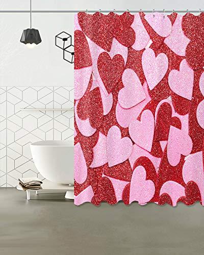 Rosa röd kärlek hjärta vattentätt tyg bad dekor dusch gardinkrok