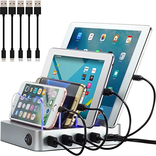 Simicore Charging Station (Original U.S. Design Patent) - Stylish Multiple Device Charger, with 5 Mini Cables for Apple and Android (Silver)