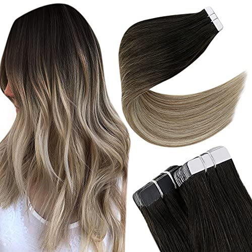 Easyouth Tape in Extension Adhesive Color Off Black Fading to Ash Brown with Light Blonde Vrais Cheveux Humains Extensions en Cheveux Humains Naturels