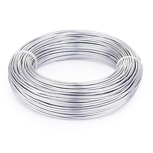 PandaHall - Alambre de aluminio de 33 pies, 5 mm, para manualidades, manualidades, para hacer joyas (plata)