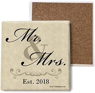 SJT ENTERPRISES, INC. Mr. & Mrs. - Est. 2018 Absorbent Stone Coasters, 4-inch (4-Pack) (SJT04051)