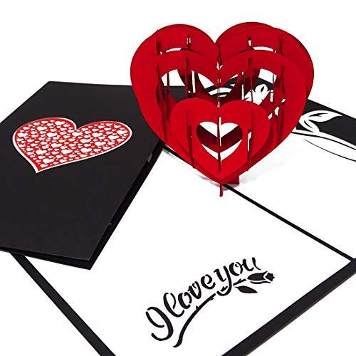 Pop Up Karte 'Read Heart - I Love you' Liebesgruß, Verlobungskarte,Valentinskarte, Geburtstagskarte, Hochzeitskarte, 3D Karte, Valentinstag, Liebe, Verlobung, Hochzeit