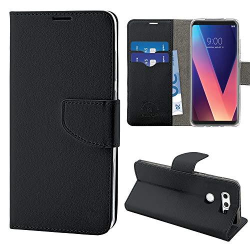 N NEWTOP Cover Compatibile per LG V30 / V30+, HQ Lateral Custodia Libro Flip Chiusura Magnetica Portafoglio Simil Pelle Stand (Nera)