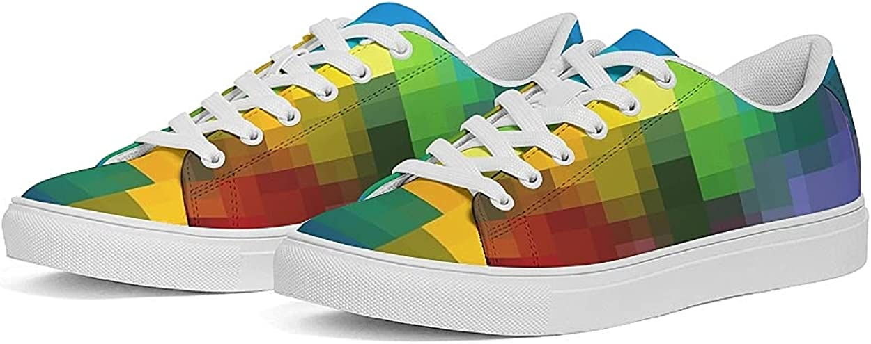 Women's PU Leather Walking Shoes Rainbow Fashion Sports Shoes Mosaic Style Casual Shoes