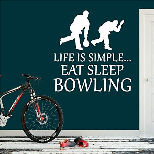 sanzangtang Bowling Aufkleber Essen Schlaf Aufkleber Sport Ball Kunst Dekoration Dekoration abnehmbare Vinyl kinderzimmer kinderzimmer wandaufkleber 104x108 cm
