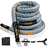 Perantlb 100% Poly Dacron Heavy Grey Battle Rope - 2', 30' 40' 50' Length - Upgraded Durable Protective Sleeve - Gym Muscle Toning Metabolic Workout Fitness - Anchor Strap Kit Included (1.5' x 30 ft)