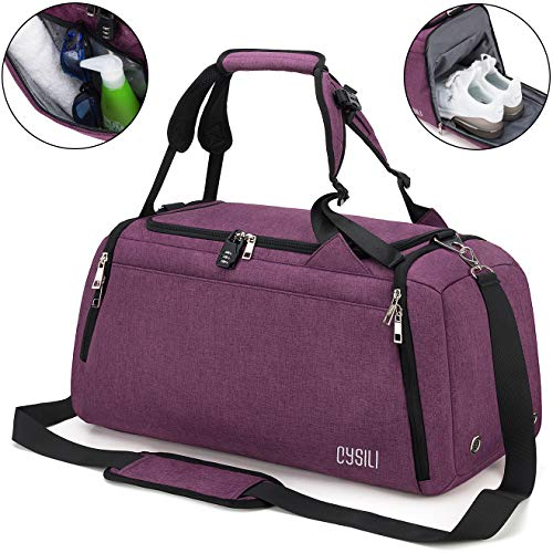 BonClare Sports Duffle Bag with Shoes Compartment and Wet Pocket, 42L Waterproof Gym Bag for Men and Women, Durable Travel Duffel Bag with Shoulder Strap and Combination Lock (A-Purple)