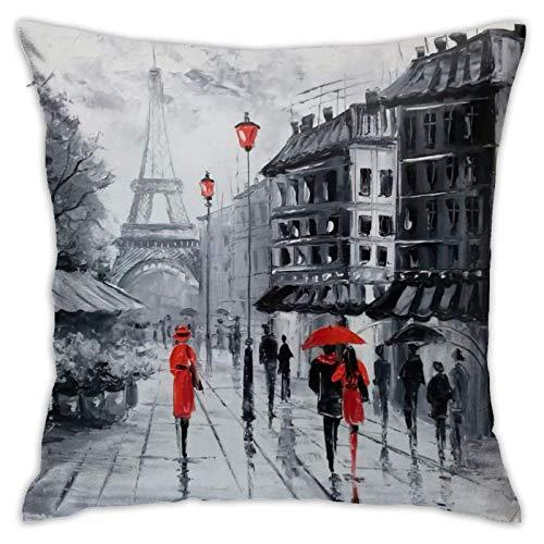 WH-CLA Pillowcase Paris Sofa Fundas De Cojines Suaves con Cremallera 45X45Cm Fundas De Almohada Sofá De Fiesta Decoración del Hogar Regalo Oficina Sofá Fundas De Almohada para Coche Apar