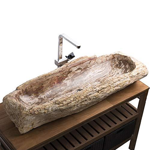 wohnfreuden Waschbecken aus fossilem Holz 107x42x19cm Naturstein Waschschale versteinert
