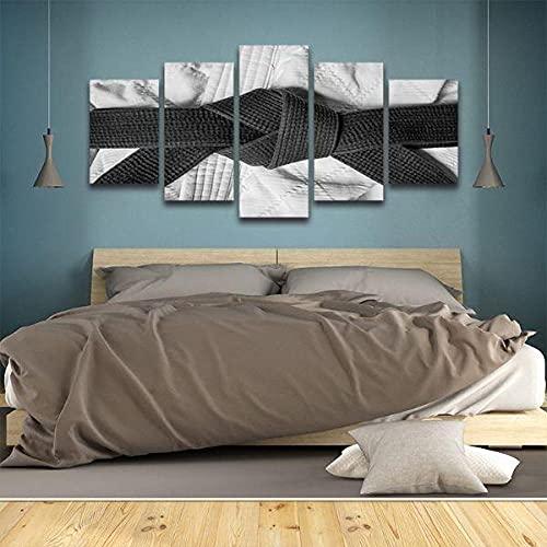 DBFHC Cuadros Modernos Impresión De Imagen Artística Digitalizada Cinturón De Karate Blanco Y Negro Lienzo Decorativo para Salón O Dormitorio 5 Piezas XXL