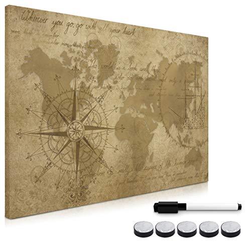 Navaris Memo Board Lavagna Magnetica 40x60 cm - Lavagnetta Scrivibile con Calamite - Bacheca Parete Cancellabile 5 Magneti 1 Pennarello - Mappamondo