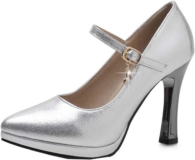 AllhqFashion Women's Pointed-Toe High-Heels PU Solid Buckle Pumps-shoes,FBUDD011847