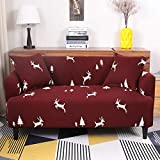 ele ELEOPTION Funda elástica para sofá, 2 unidades de 3 plazas para sofá en forma de L, incluye 2 fundas de almohada (ciervo David)