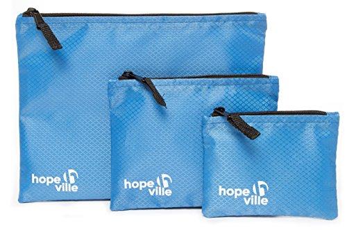 HOPEVILLE Reißverschlusstaschen-Set, 3 verschieden große Reiseorganizer Taschen für Dokumente und Reiseutensilien, Premium Packbeutel-Set für Reise, Freizeit und Ausflug (Blau)