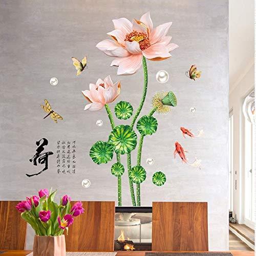 China Style Vintage Lotus muurstickers voor sala studio-decoratie voor thuis in het vliegtuig, pastrol Mural Door DIY Te Wallposters