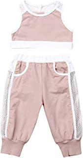 Baby Girl Clothes Sleeveless Mesh Hollow Out Crop Top T-Shirt + Long Pants Tracksuit