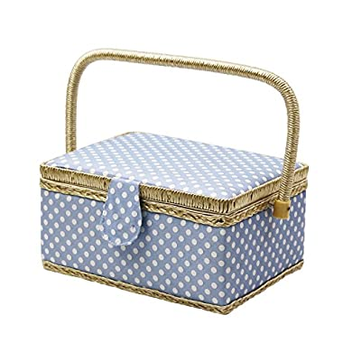 D&D Sewing Basket with Sewing Kit Accessories - Blue Polka Dot