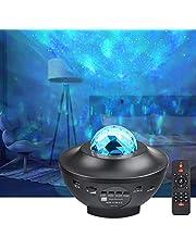 LED-projektorlampor – havsvåg stjärnhimmel nattlampa med musikhögtalare, ljudsensor, fjärrkontroll, 360° roterande sömnlugnande färgskiftande lampa för scenen sovrum bröllop jul