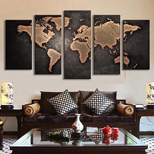 wodclockyui 5 Piezas Cuadro de Lienzo- Mapa del Mundo Retro Pintura 5 Impresiones de imágenes Decoración de Pared para el hogar Pinturas y Carteles de Arte HD 200cmx100cm sin Marco