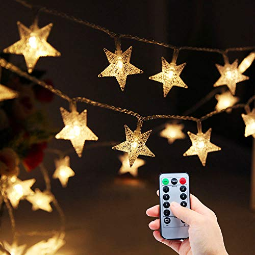 Fairy Lights Battery Operated, Lezuoey 33ft 80leds Warm White Star String Lights with Remote Control for Bedroom Patio Curtain Wedding Party Christmas Decorative Lights