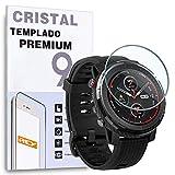 REY Protector de Pantalla para XIAOMI AMAZFIT Stratos 3, Cristal Vidrio Templado Premium