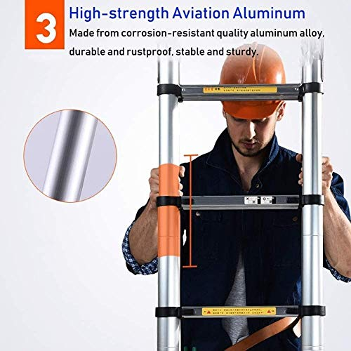 File Cabinets Step Stool Telescopic Ladders,Durable Aluminum Telescopic Extension Ladder, Heavy Duty Telescoping Ladder Engineering Climb The Ladder (Size : 6.2M/20.3Ft)