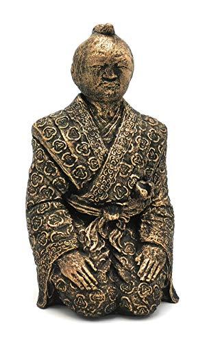 Hochwertige und massive Figur Samurai Handmade japanische Deko in Bronze Gold Optik antik Vintage Skulptur Dekoration für Wohnung