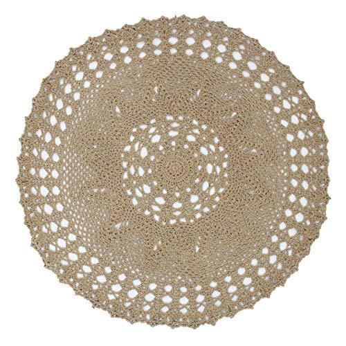 kilofly Handmade Crochet Cotton Lace Table Sofa Doily, Waterlily, Brown, 22 inch
