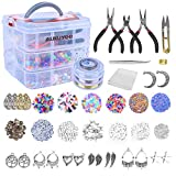 Kit de Fabricación de Joyas, AUKUYEE 1500 pcs Kit de Herramientas de Reparación deJoyería, con accesorios con caja para hacer pendientes joyas o artesanía de DIY para principiantes y profesionales