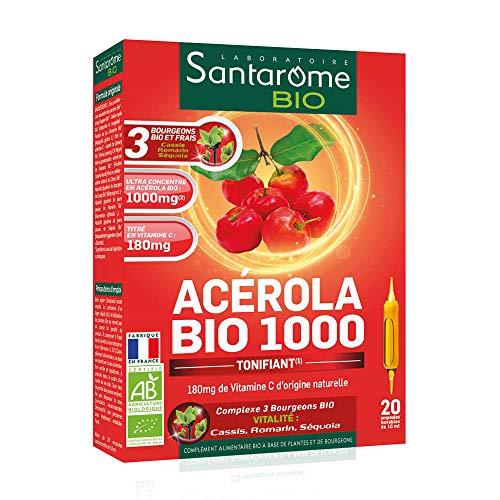 Santarome Bio - Acérola Bio 1000 | Complément Alimentaire Energie et Vitalité | 20 Ampoules