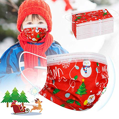 Christmas Masks for Kids Disposable red - 50 pcs Christmas mask Disposable for Girls Child 3 Layer Christmas Masks for Boys Disposable with Nose Clip Ear