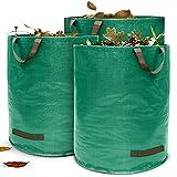 Terrauno - Gartensack 272 Liter Fassungsvermögen - 3er Pack I 150g/m² starker Gartenabfallsack mit verstärktem Boden I Faltbar mit 4 extra starken Griffen I Laubsack für Gartenabfälle