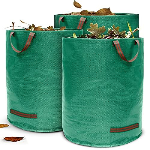 Terrauno - Gartensack 272 Liter Fassungsvermögen - 3er Pack I 150g/m² starker Gartenabfallsack mit verstärktem Boden I Faltbar mit 4 extra starken Griffen I Laubsack für...