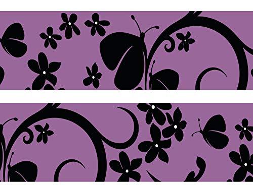 wandmotiv24 Bordüre Velvet Butterfly 260cm Breite - Vlies Borte Tapetenbordüre Bordüren Borde Wandborde violett Schmetterling Schwarz M0068