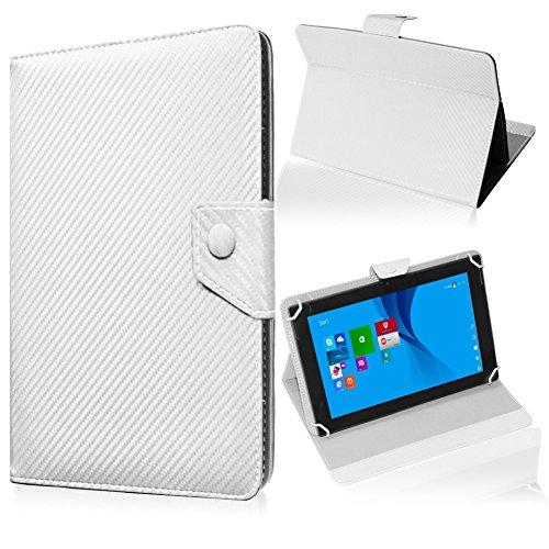 UC-Express Tablet Tasche für Medion Lifetab S10345 S10346 Hülle Schutzhülle Carbon Hülle Bag, Farben:Weiß