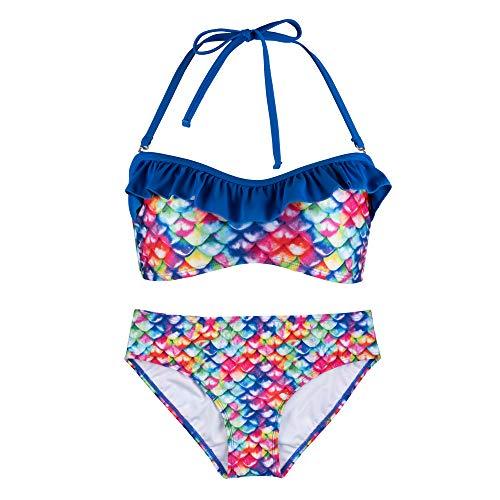 Fin Fun Bandeau Bikini Einstellen, New Rainbow Reef Oben, New Rainbow Reef Unterseite, Mädchen Groß