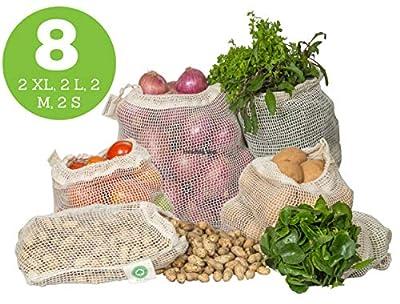 Reusable Vegetable Bags - Cotton Mesh Bags for Vegetables - Mesh Grocery Produce Bags - Mesh Vegetable Bags - Cotton Mesh Produce Bags - Reusable Bags for Vegetables | 8 Bags (2XL, 2L, 2M, 2S)