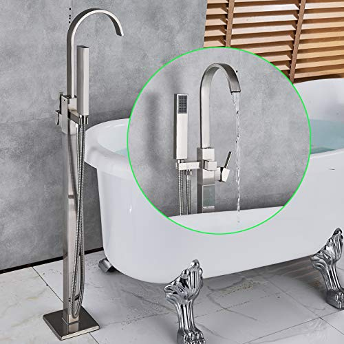 Rozin Floor Mounted Tub Faucet Single Handle Swivel Spout Bathtub Filler Faucet with Hand Shower Free Standing Bathroom Faucet with Diverter Brushed Nickel