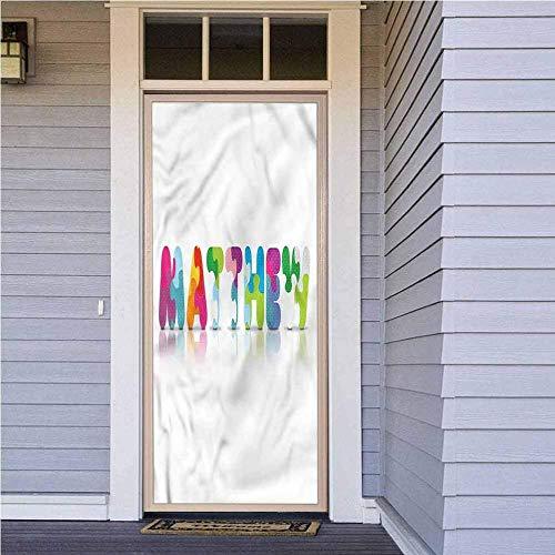 YANGCH Pegatinas Puertas Cristal 215 X 95 Cm Color Moda Letra Patrón Pegatina De Puerta Para Chicas Adolescentes En El Dormitoriosobre Fondo Vinilo Puerta Calcomanías Papel Tapiz Murales De Pared Pega