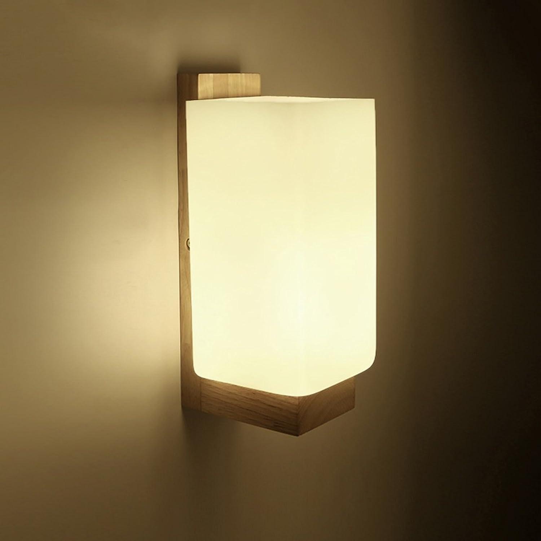 QFF Nachttisch Lampe Einfache Moderne Schlafzimmer Wandleuchte Massiv Holz Wandleuchte Gang Holzleuchte