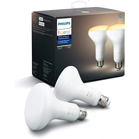 Philips Hue White Ambiance 2-Pack BR30 LED Smart Bulbs, Bluetooth & Zigbee compatible (Hue Hub Optional), for recessed cans and downlights, voice activated with Alexa