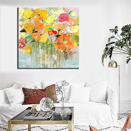YuanMinglu Leinwanddruck Wanddekoration, moderner Abstrakter Aquarelldruck auf der Leinwand Bunte Blumen Poster Hauptdekoration rahmenlose Malerei 50x50cm