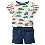 Fiream Baby Boy Summer Clothes Soft Cotton Ivory T-Shirt & Blue Shorts 2 Packs, Casual Cute Baby Summer Clothes Boy Adorable Car Print Design for School Party Outdoor Play, Size 18-24 Months, SY066