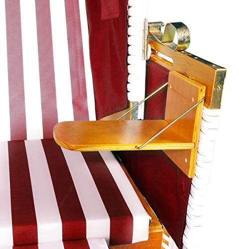 BRAST Strandkorb Nordsee XXL Volllieger Weiß Rot gestreift incl. Schutzhülle 2 Sitzer 120cm breit Gartenliege Sonneninsel Poly-Rattan - 3