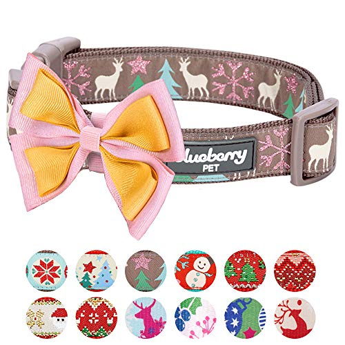 Blueberry Pet 4 Patterns Christmas Moments of Peace Happy Reindeer Designer Adjustable Bowtie Dog Collar, Small, Neck 12